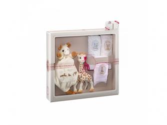 Můj první dárkový set (žirafa Sophie & mazlík s klipem na dudlík & set 3 plen 70 x 70 cm) 2