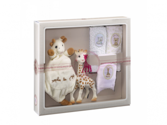 Můj první dárkový set (žirafa Sophie & mazlík s klipem na dudlík & set 3 plen 70 x 70 cm)