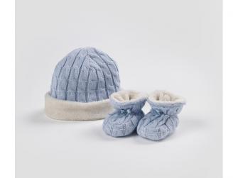 Čepička & bačkůrky pletené Blue