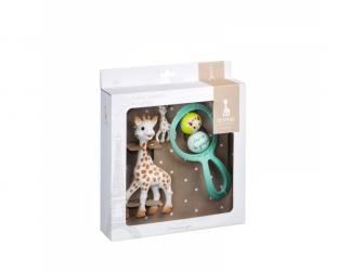 Dárkový set Sophie la girafe® pro novorozence (žirafa Sophie + klíčenka + chrastítko)