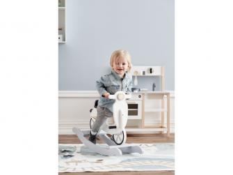 Houpací skútr dřevěný Grey White 3