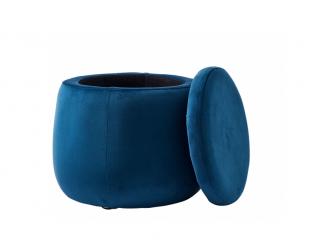 Úložný taburet kulatý Velvet Blue 2