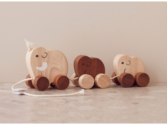 Tahací mamutí rodina dřevěná hnědá Neo 2