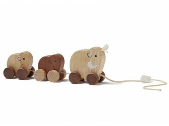 Tahací mamutí rodina dřevěná hnědá Neo