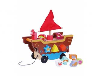 Dřevěná vkládačka loďka