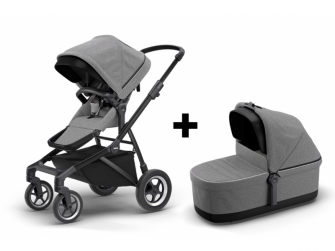 Sleek+Bassinet Grey Mel on Black