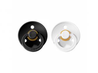 Dudlíky COLOUR Black/White - velikost 1, přír. kaučuk 2ks