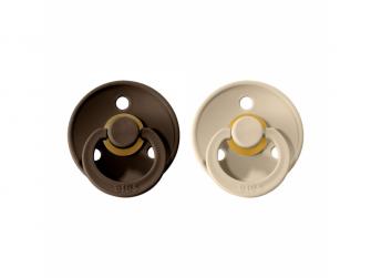 Dudlíky COLOUR Chocolate/Sand - velikost 1, přír. kaučuk 2ks