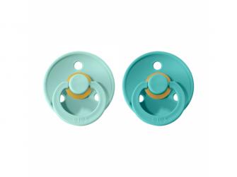 Dudlíky COLOUR Mint/Turquoise - velikost 1, přír.kaučuk 2ks