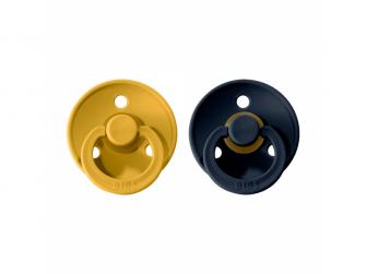 Dudlíky COLOUR Mustard/Dark Denim - velikost 1, přír. kaučuk 2ks