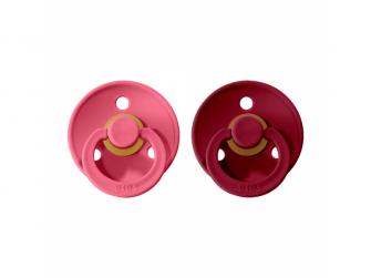 Dudlíky COLOUR Coral/Ruby - velikost 1, přír kaučuk 2ks