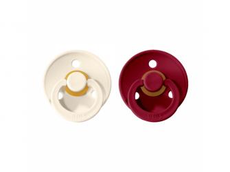 Dudlíky COLOUR Ivory/Ruby - velikost 1, přír. kaučuk, 2ks