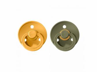 Dudlíky COLOUR Honey Beel/Olive - velikost 1, přír kaučuk 2ks