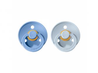 Dudlíky COLOUR Sky Blue/Baby Blue - velikost 2, přír. kaučuk 2ks