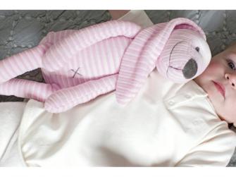 Růžový pruhovaný králíček Reece no. 1 vel.30 cm 2