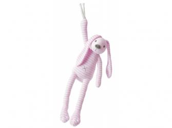 Růžový pruhovaný králíček Reece hudební vel.37 cm