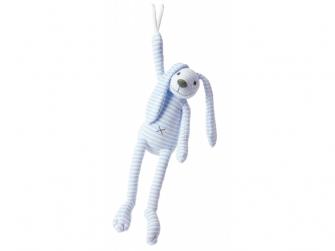 Modrý pruhovaný králíček Reece hudební vel.37 cm