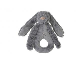 Deep Grey Rabbit Richie Rattle, 18 cm