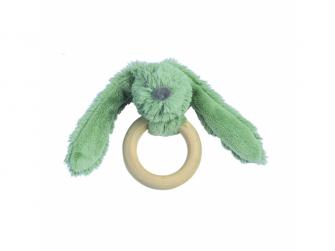 Králíček Zelený Richie s dřevěným kroužkem