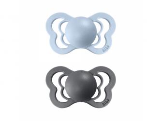 Dudlíky COUTURE ORTODONTIC SILIKON Iron/Baby Blue velikost 1, 2ks