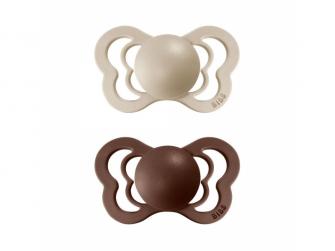 Dudlíky COUTURE Vanilla/Mocha - velikost 1, z přír.kaučuku 2ks