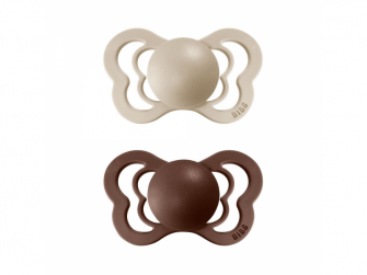 Dudlíky COUTURE Vanilla/Mocha - velikost 2, z přír.kaučuku 2ks