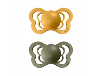 Dudlíky COUTURE Honey Bee/Olive - velikost 2, z přír.kaučuku 2ks