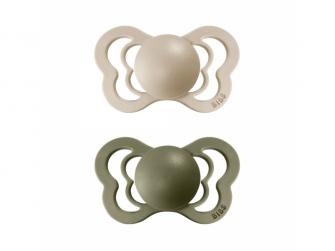 Dudlíky COUTURE Vanilla/Olive - velikost 2, z přír.kaučuku 2ks