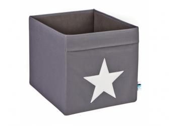 Úložný box velký šedá s bílou hvězdou