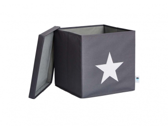 Úložný box s víkem šedá s bílou hvězdou