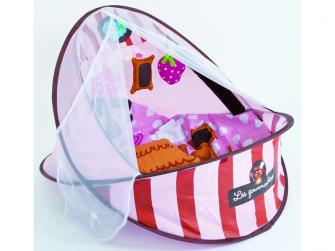 Cestovní postýlka / deka s hrazdou růžová