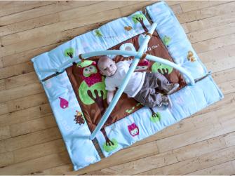 Hrací deka s mantinelem a hrazdou Sova modrá 5