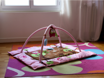 Hrací deka s mantinelem a hrazdou Sova růžová 3
