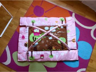 Hrací deka s mantinelem a hrazdou Sova růžová 4