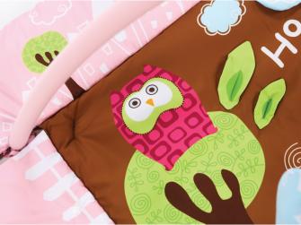 Hrací deka s mantinelem a hrazdou Sova růžová 5
