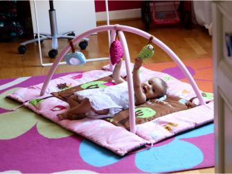 Hrací deka s mantinelem a hrazdou Sova růžová 6