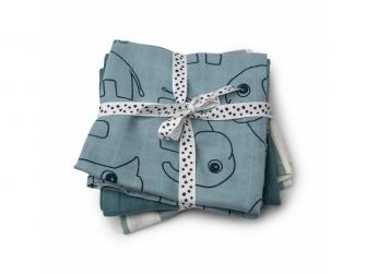 Mušelínové plenky Deer Friends 3ks - modré