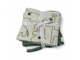Mušelínové plenky Deer Friends 3ks - zelené