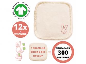 Sada hygienické žínky z BIO bavlny, prací síťka a organizér 12ks