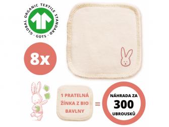 Hygienické žínky z BIO bavlny doplňovací sada  8ks