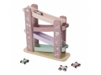 Dřevěná závodní dráha pink