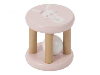 Dřevěná kulička v kleci pink