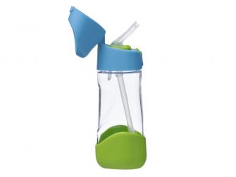Láhev na pití s brčkem - modrá/zelená