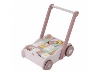 Dřevěný vozíček s kostkami pink