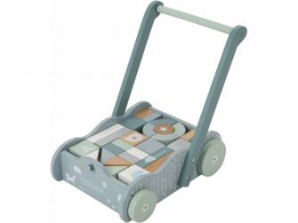 Dřevěný vozíček s kostkami blue