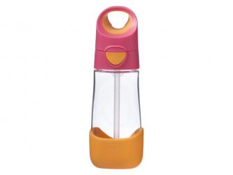 Láhev na pití s brčkem - růžová/oranžová 2
