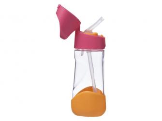 Láhev na pití s brčkem - růžová/oranžová