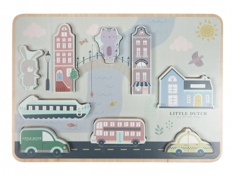 Dřevěné puzzle město