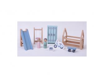 Dřevěný hrací set dětský pokoj 12ks