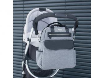 Přebalovací batoh a taška na kočárek 2v1 DUAL, grey melange 10